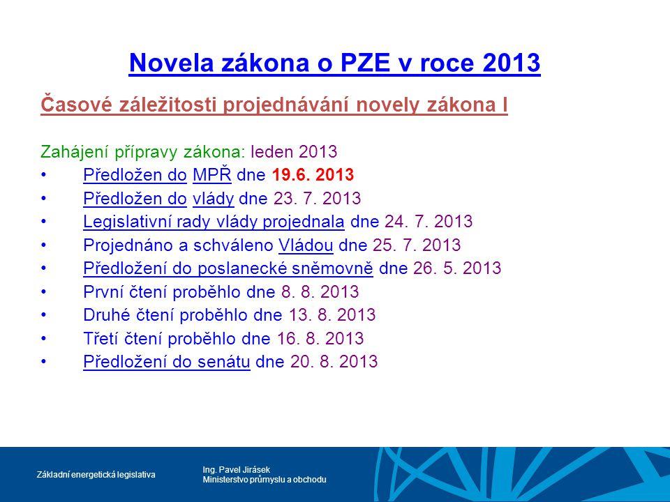 Novela zákona o PZE v roce 2013