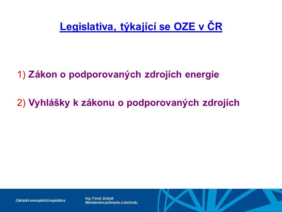 Legislativa, týkající se OZE v ČR