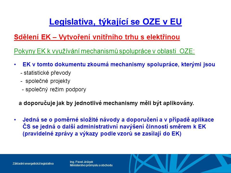 Legislativa, týkající se OZE v EU