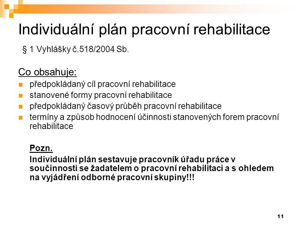 Individuální plán pracovní rehabilitace § 1 Vyhlášky č.518/2004 Sb.