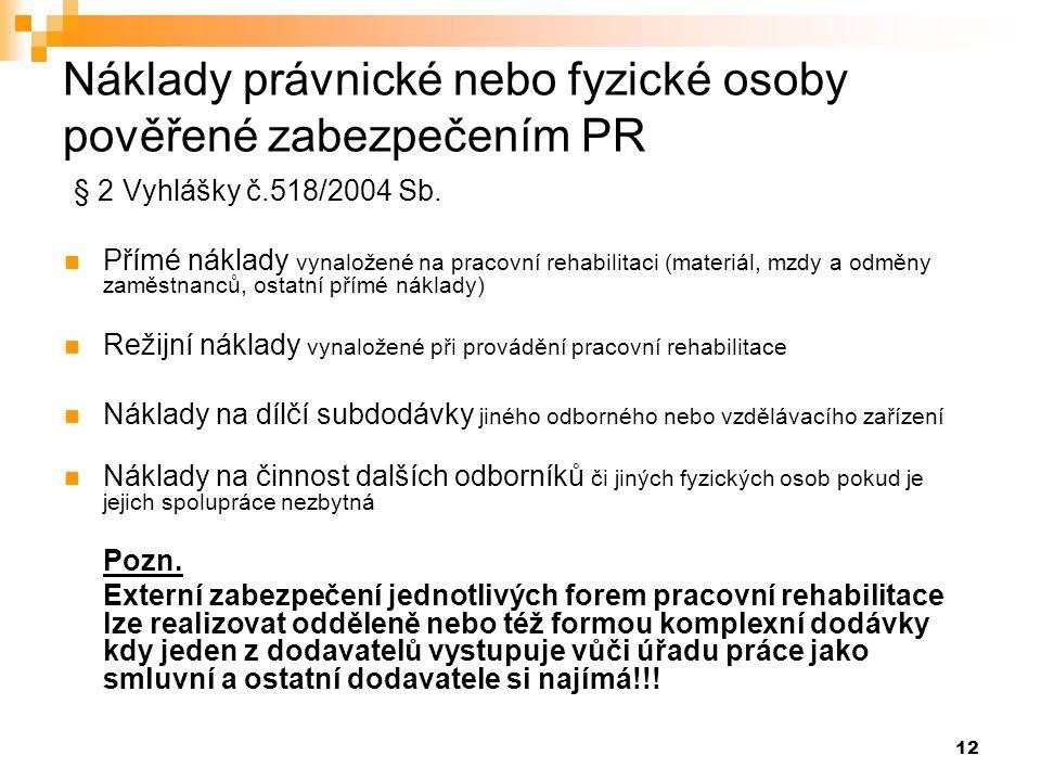 Náklady právnické nebo fyzické osoby pověřené zabezpečením PR § 2 Vyhlášky č.518/2004 Sb.