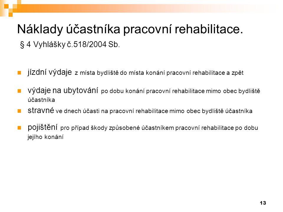 Náklady účastníka pracovní rehabilitace. § 4 Vyhlášky č.518/2004 Sb.