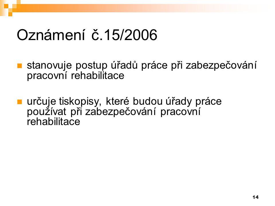 Oznámení č.15/2006 stanovuje postup úřadů práce při zabezpečování pracovní rehabilitace.