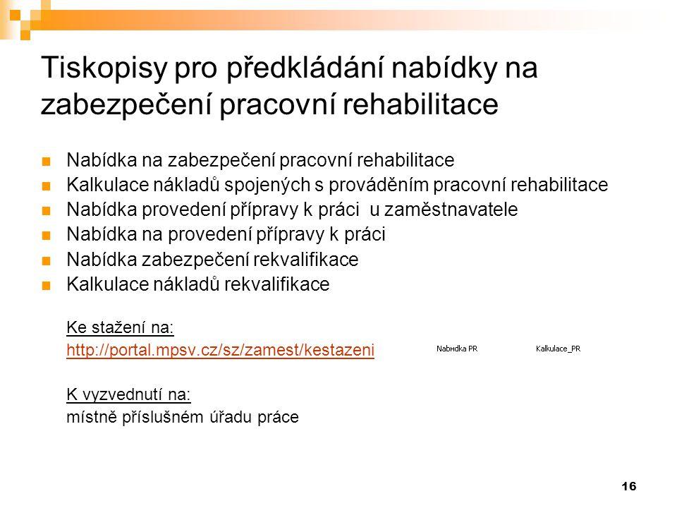 Tiskopisy pro předkládání nabídky na zabezpečení pracovní rehabilitace