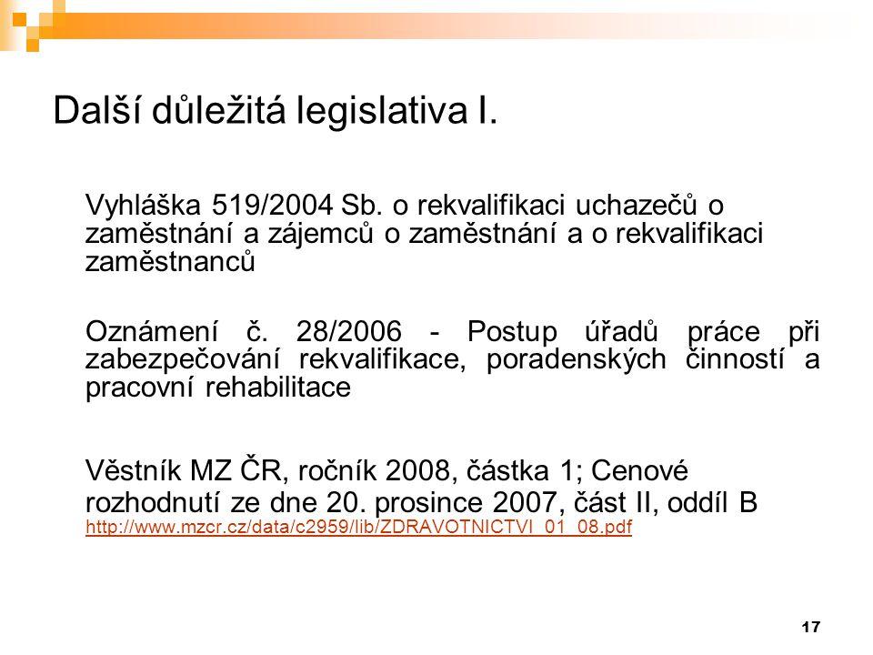 Další důležitá legislativa I.
