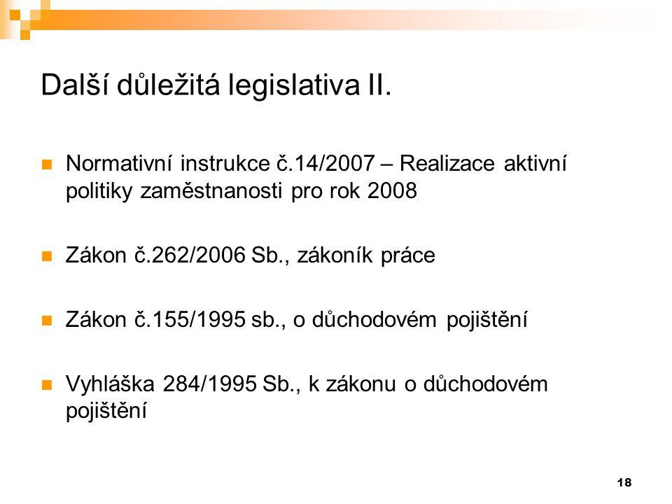 Další důležitá legislativa II.