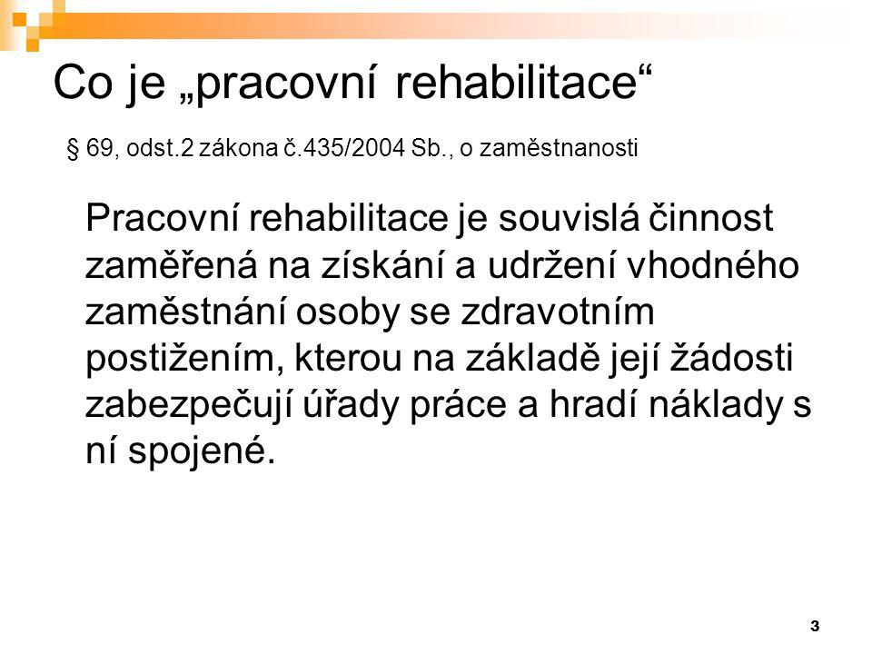 """Co je """"pracovní rehabilitace § 69, odst. 2 zákona č. 435/2004 Sb"""