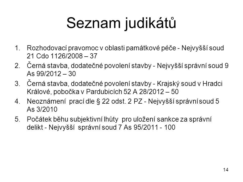 Seznam judikátů Rozhodovací pravomoc v oblasti památkové péče - Nejvyšší soud 21 Cdo 1126/2008 – 37.