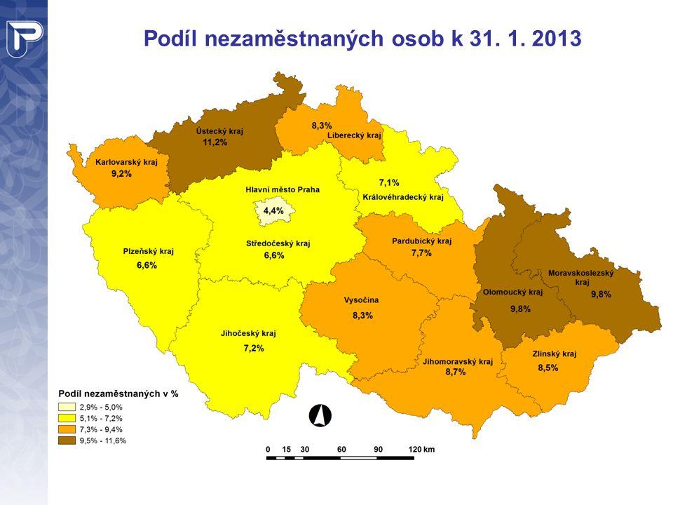Podíl nezaměstnaných osob k 31. 1. 2013
