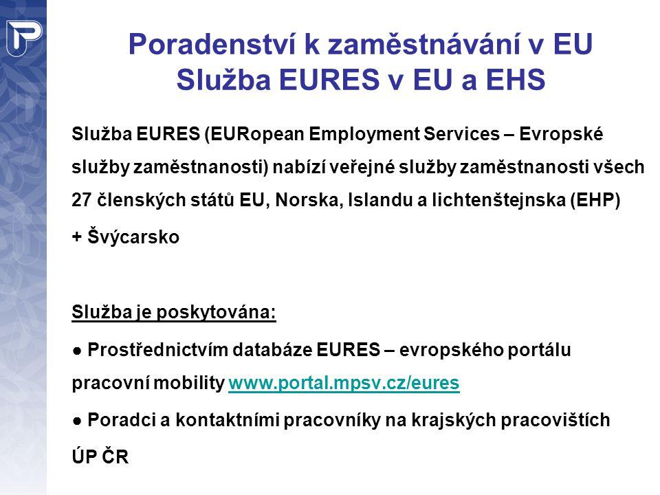 Poradenství k zaměstnávání v EU Služba EURES v EU a EHS