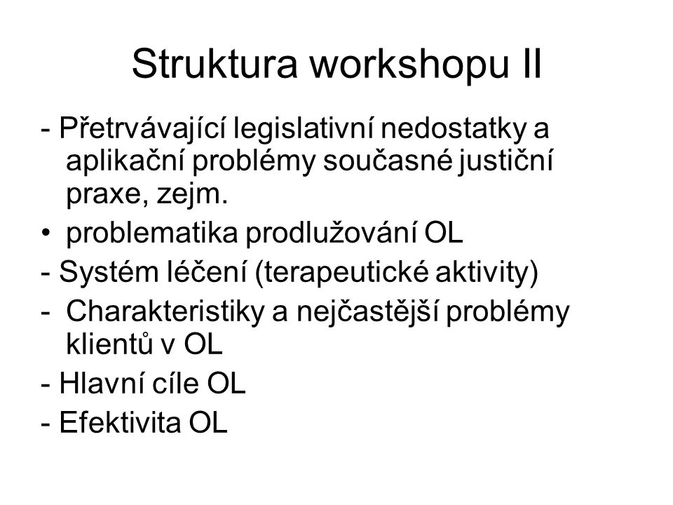 Struktura workshopu II