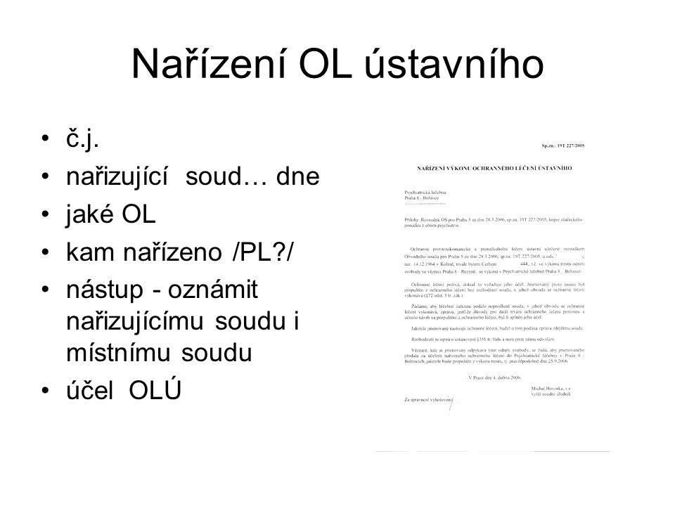 Nařízení OL ústavního č.j. nařizující soud… dne jaké OL