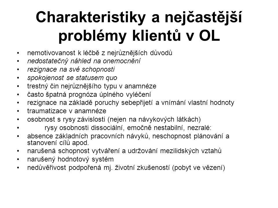 Charakteristiky a nejčastější problémy klientů v OL