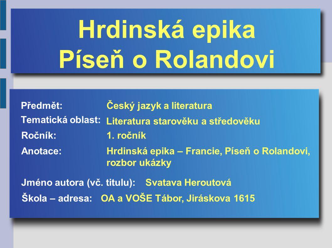 Hrdinská epika Píseň o Rolandovi