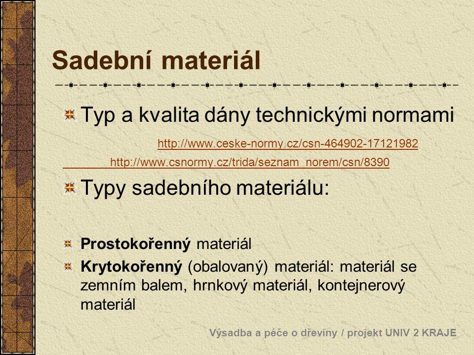 Sadební materiál Typ a kvalita dány technickými normami http://www.ceske-normy.cz/csn-464902-17121982.