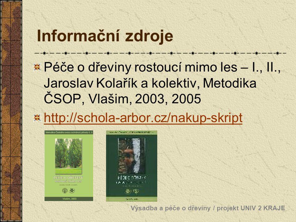 Informační zdroje Péče o dřeviny rostoucí mimo les – I., II., Jaroslav Kolařík a kolektiv, Metodika ČSOP, Vlašim, 2003, 2005.