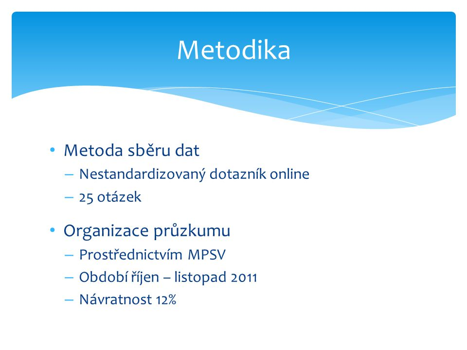 Metodika Metoda sběru dat Organizace průzkumu