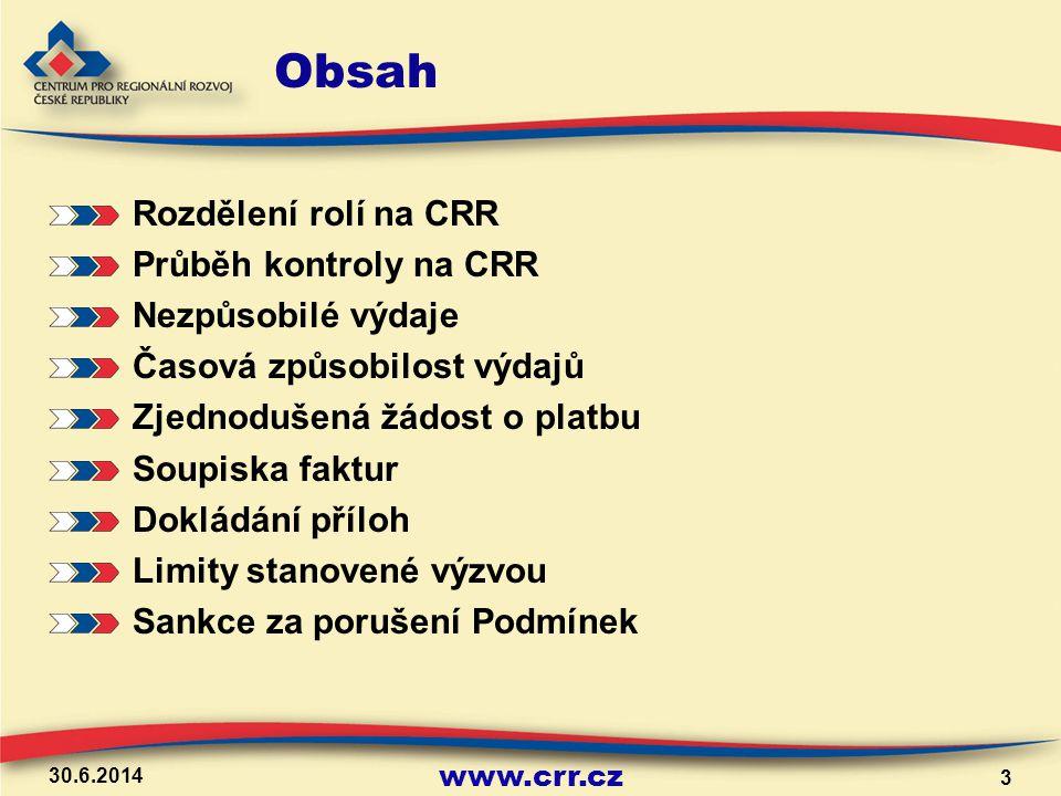 Obsah Rozdělení rolí na CRR Průběh kontroly na CRR Nezpůsobilé výdaje