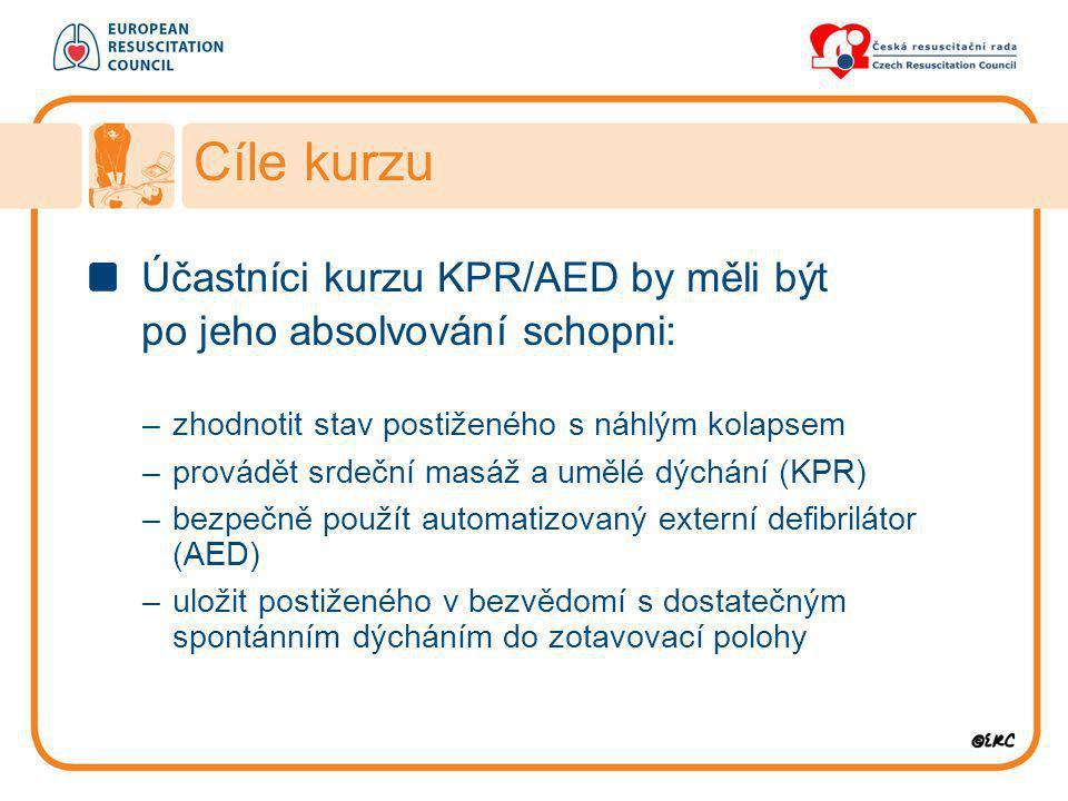 Cíle kurzu Účastníci kurzu KPR/AED by měli být