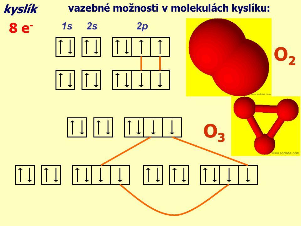 kyslík vazebné možnosti v molekulách kyslíku: 8 e- 1s 2s 2p O2 O3