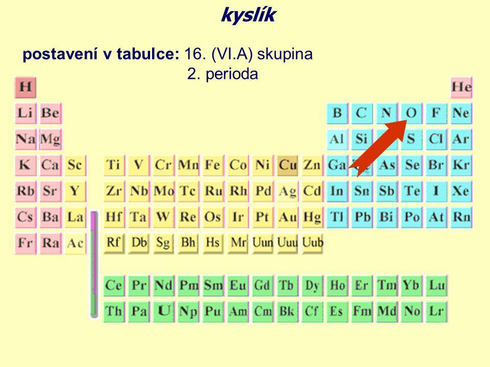 kyslík postavení v tabulce: 16. (VI.A) skupina 2. perioda