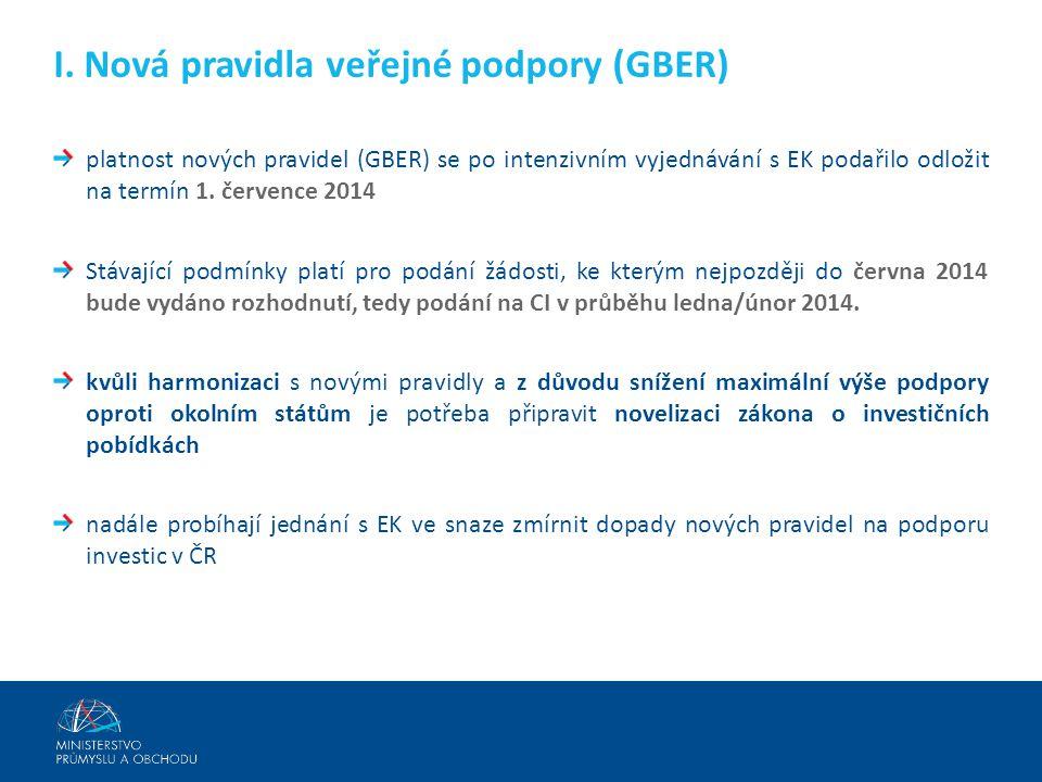 I. Nová pravidla veřejné podpory (GBER)