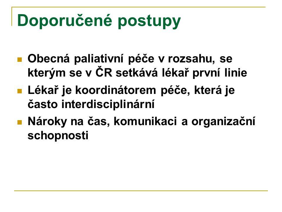 Doporučené postupy Obecná paliativní péče v rozsahu, se kterým se v ČR setkává lékař první linie.