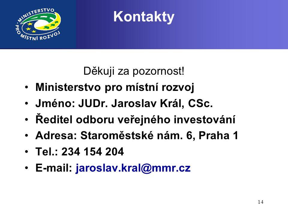 Kontakty Děkuji za pozornost! Ministerstvo pro místní rozvoj