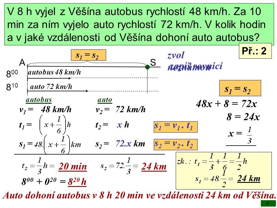 V 8 h vyjel z Věšína autobus rychlostí 48 km/h