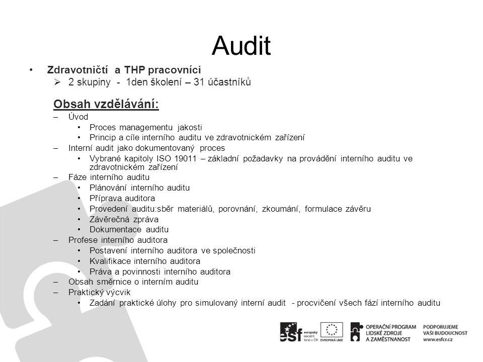 Audit Obsah vzdělávání: Zdravotničtí a THP pracovníci