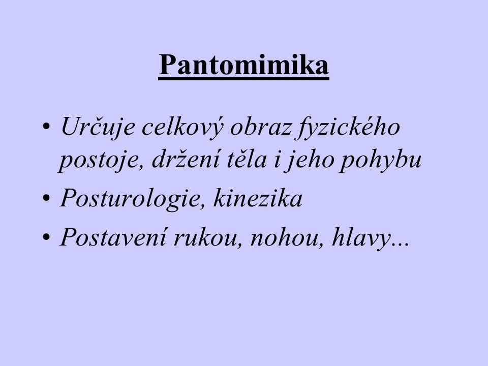 Pantomimika Určuje celkový obraz fyzického postoje, držení těla i jeho pohybu. Posturologie, kinezika.