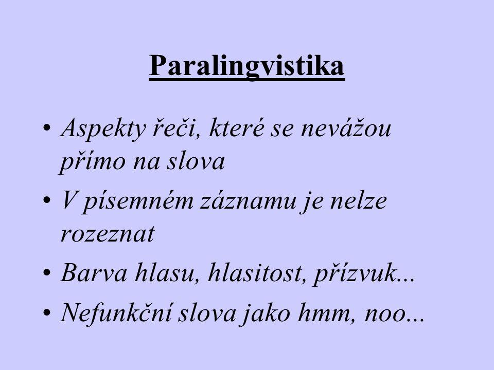 Paralingvistika Aspekty řeči, které se nevážou přímo na slova