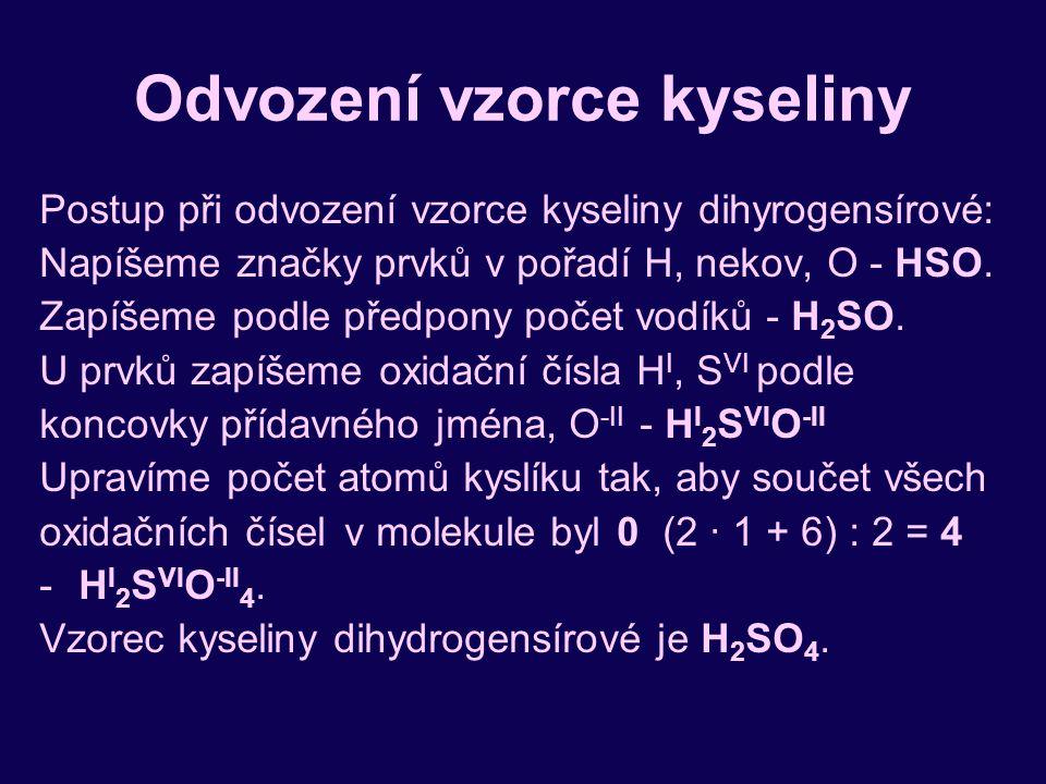 Odvození vzorce kyseliny