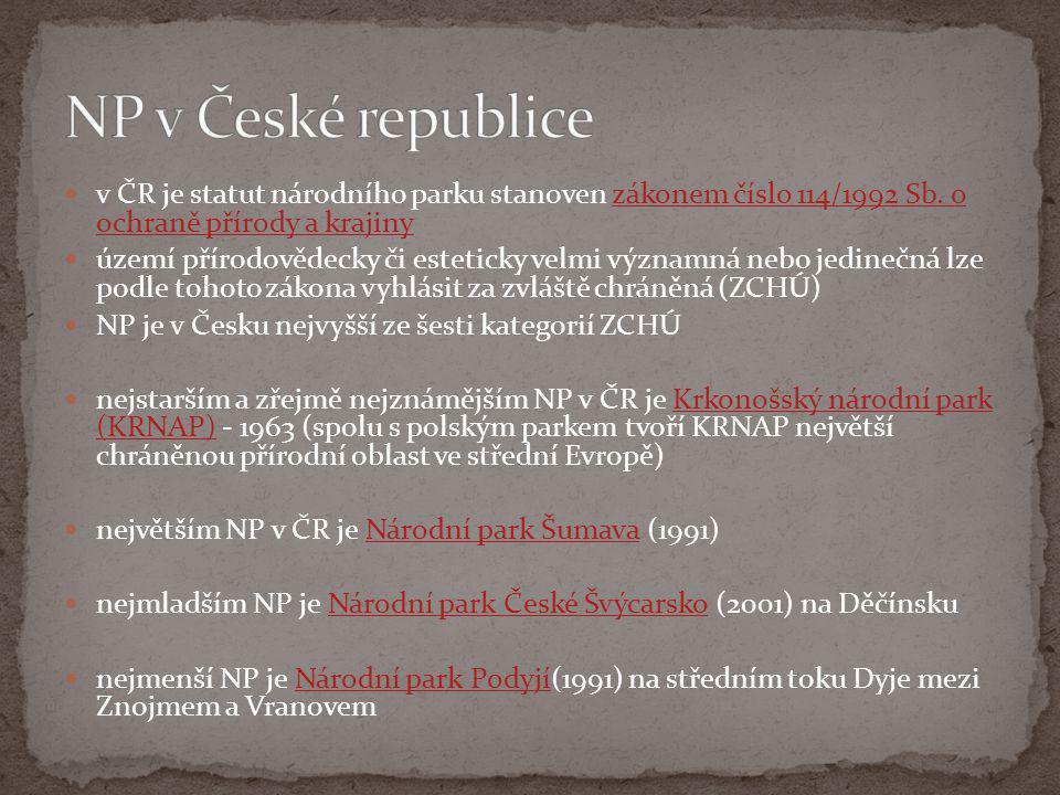 NP v České republice v ČR je statut národního parku stanoven zákonem číslo 114/1992 Sb. o ochraně přírody a krajiny.