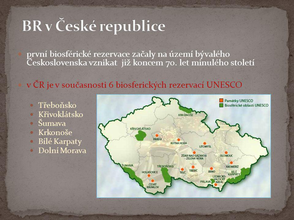 BR v České republice první biosférické rezervace začaly na území bývalého Československa vznikat již koncem 70. let minulého století.