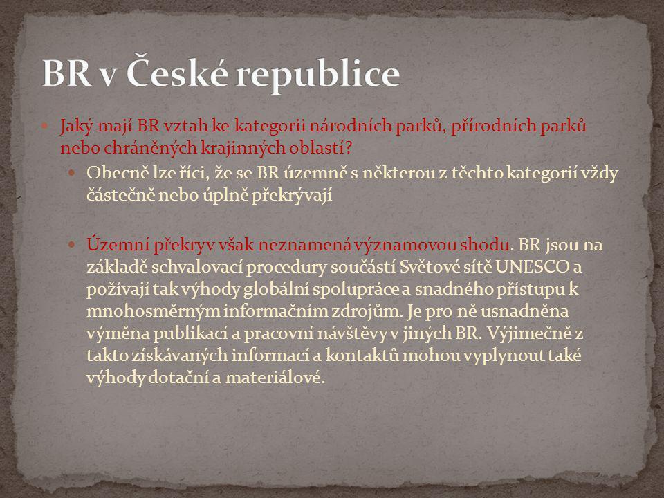 BR v České republice Jaký mají BR vztah ke kategorii národních parků, přírodních parků nebo chráněných krajinných oblastí