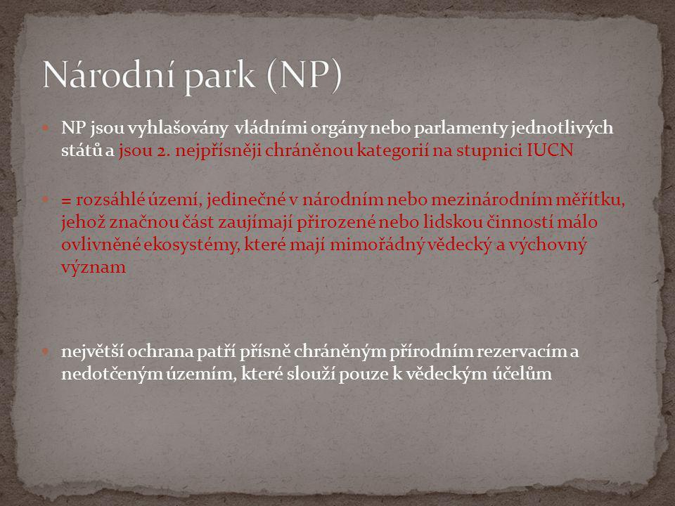 Národní park (NP) NP jsou vyhlašovány vládními orgány nebo parlamenty jednotlivých států a jsou 2. nejpřísněji chráněnou kategorií na stupnici IUCN.