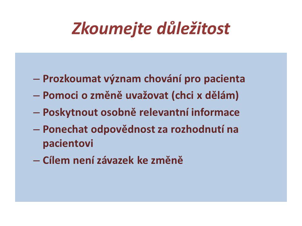 Zkoumejte důležitost Prozkoumat význam chování pro pacienta