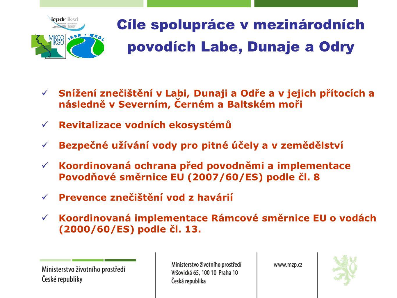 Cíle spolupráce v mezinárodních povodích Labe, Dunaje a Odry