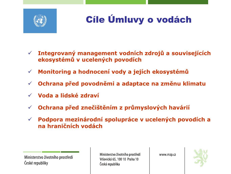 Cíle Úmluvy o vodách Integrovaný management vodních zdrojů a souvisejících ekosystémů v ucelených povodích.