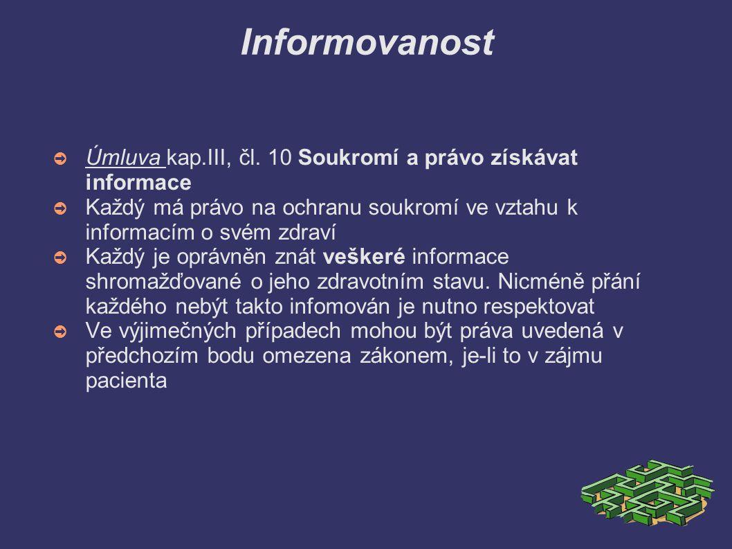 Informovanost Úmluva kap.III, čl. 10 Soukromí a právo získávat informace. Každý má právo na ochranu soukromí ve vztahu k informacím o svém zdraví.
