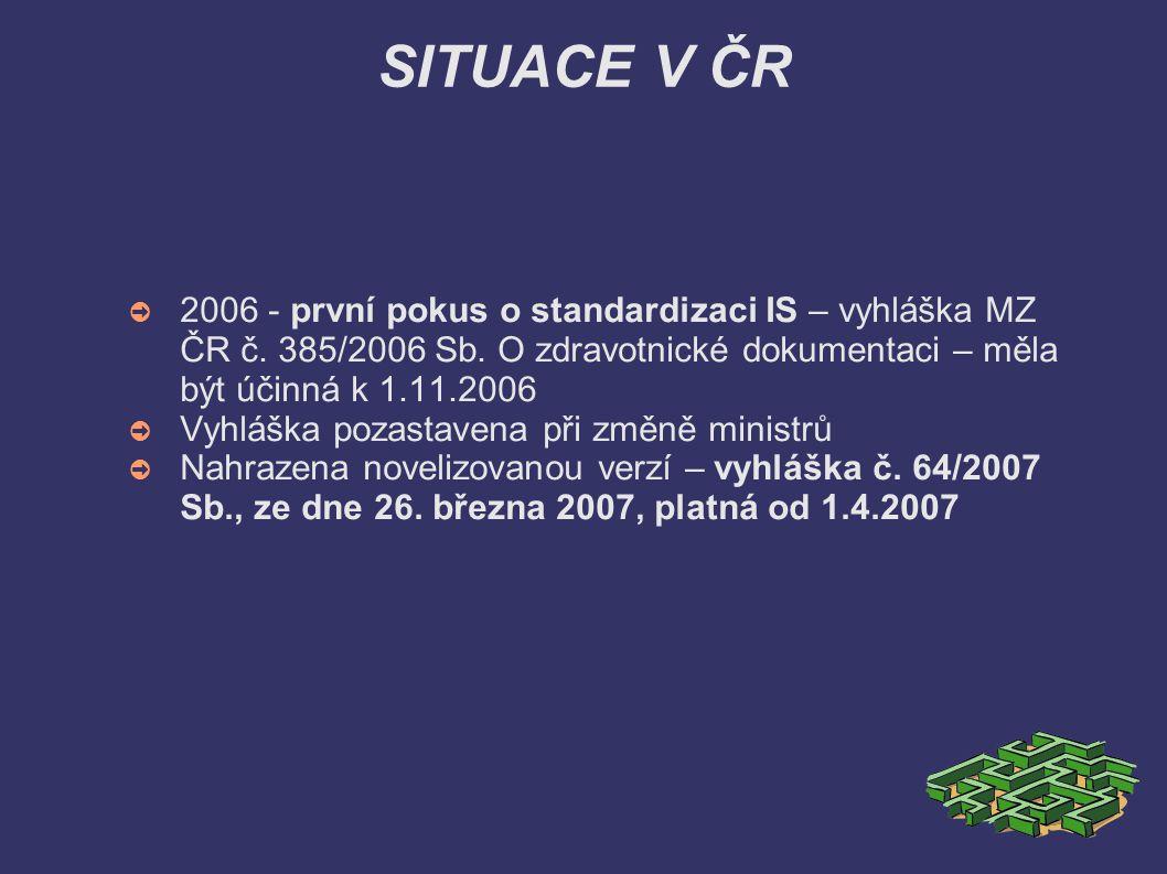 SITUACE V ČR 2006 - první pokus o standardizaci IS – vyhláška MZ ČR č. 385/2006 Sb. O zdravotnické dokumentaci – měla být účinná k 1.11.2006.