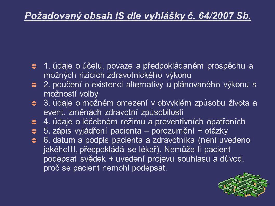 Požadovaný obsah IS dle vyhlášky č. 64/2007 Sb.