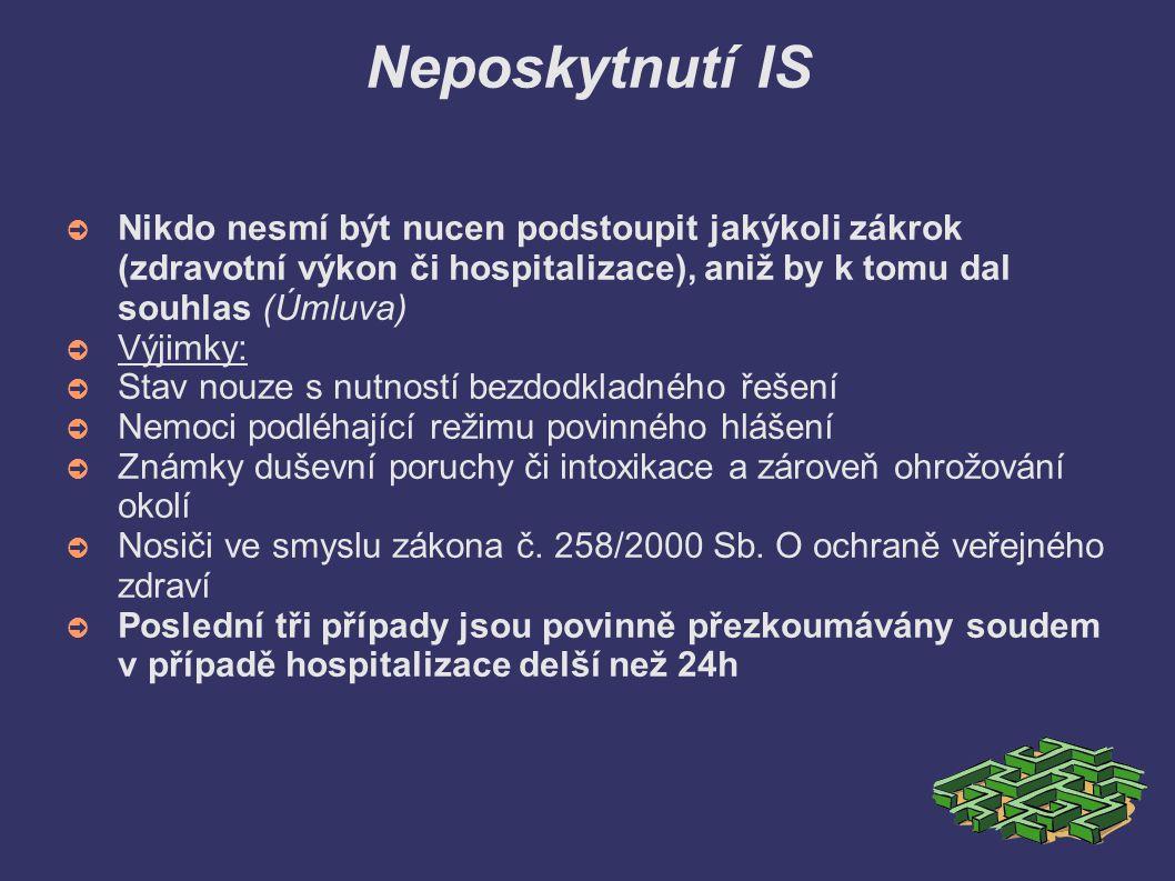 Neposkytnutí IS Nikdo nesmí být nucen podstoupit jakýkoli zákrok (zdravotní výkon či hospitalizace), aniž by k tomu dal souhlas (Úmluva)