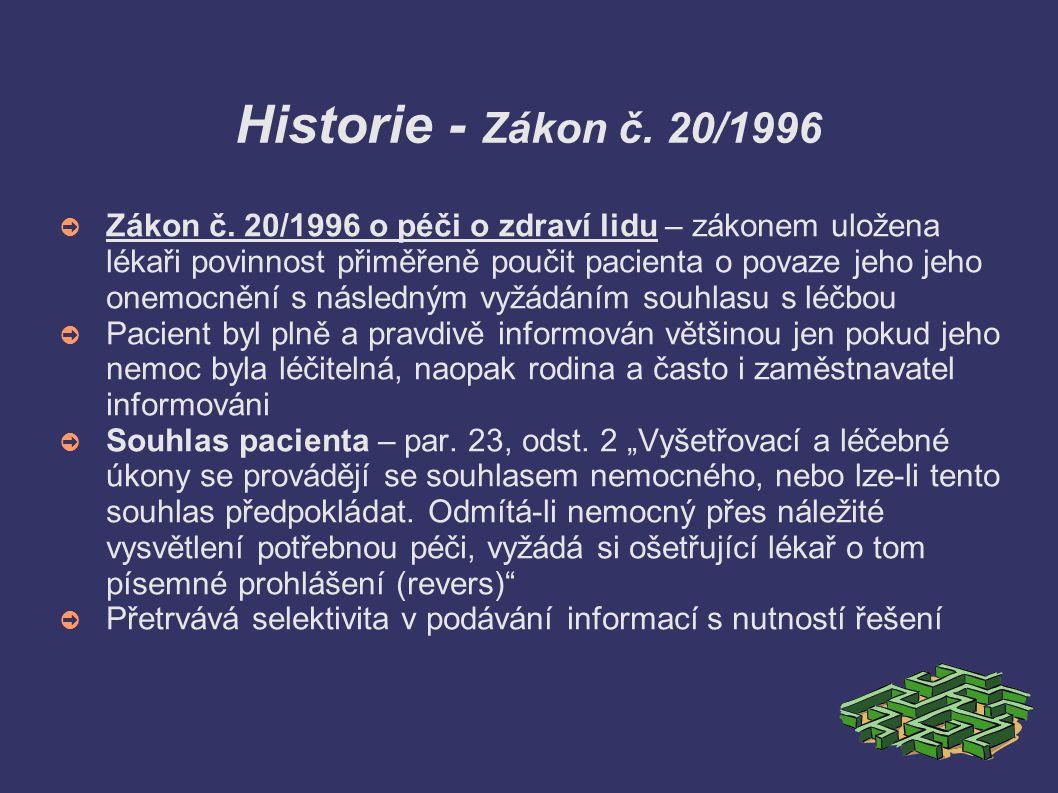 Historie - Zákon č. 20/1996