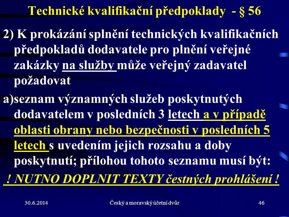 Technické kvalifikační předpoklady - § 56