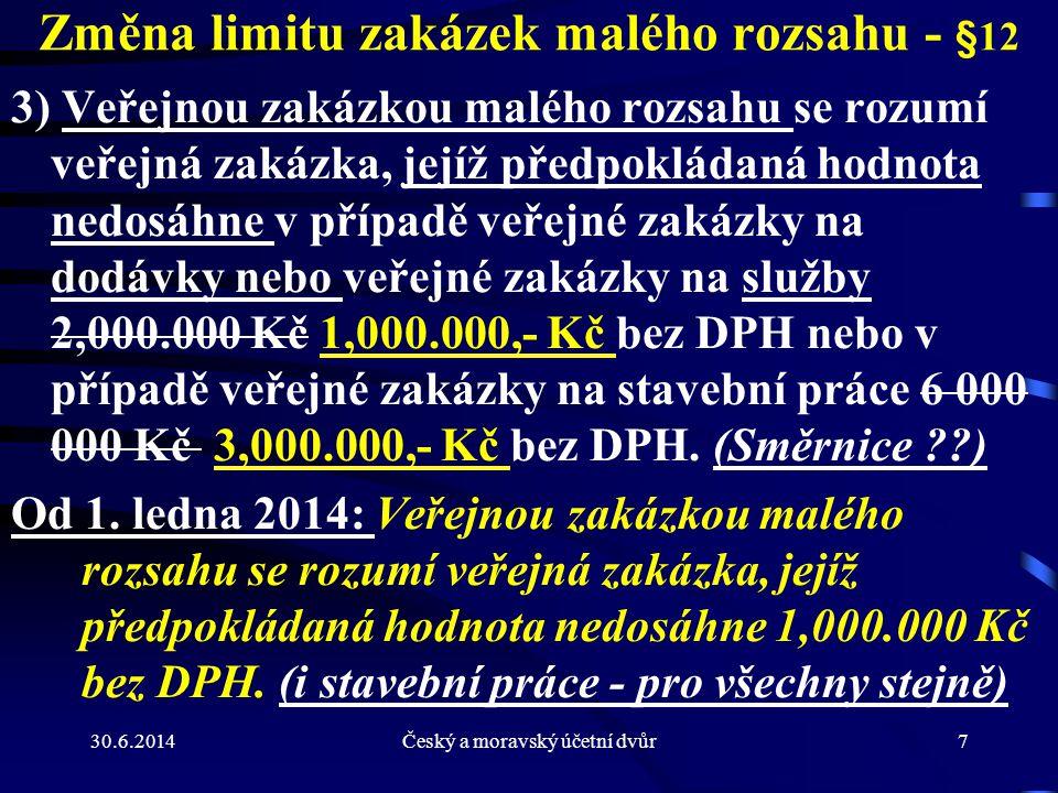 Změna limitu zakázek malého rozsahu - §12