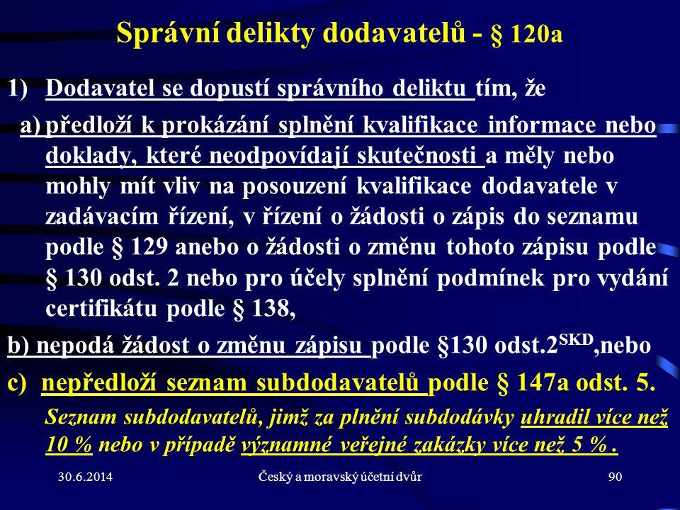 Správní delikty dodavatelů - § 120a