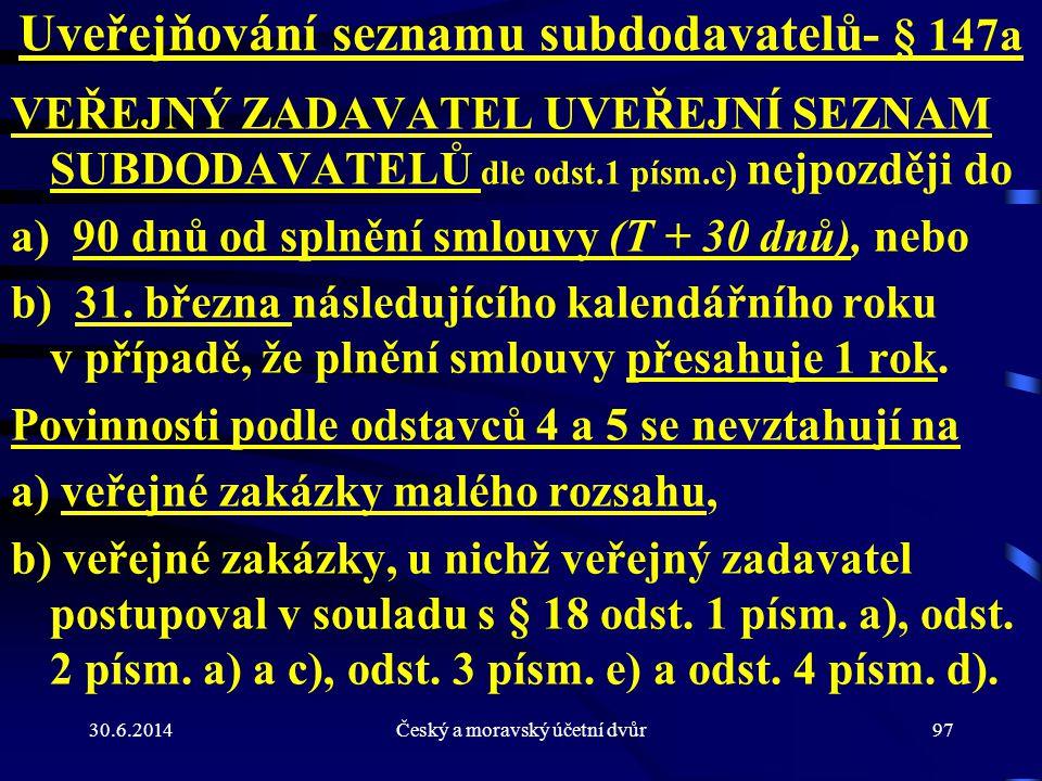 Uveřejňování seznamu subdodavatelů- § 147a