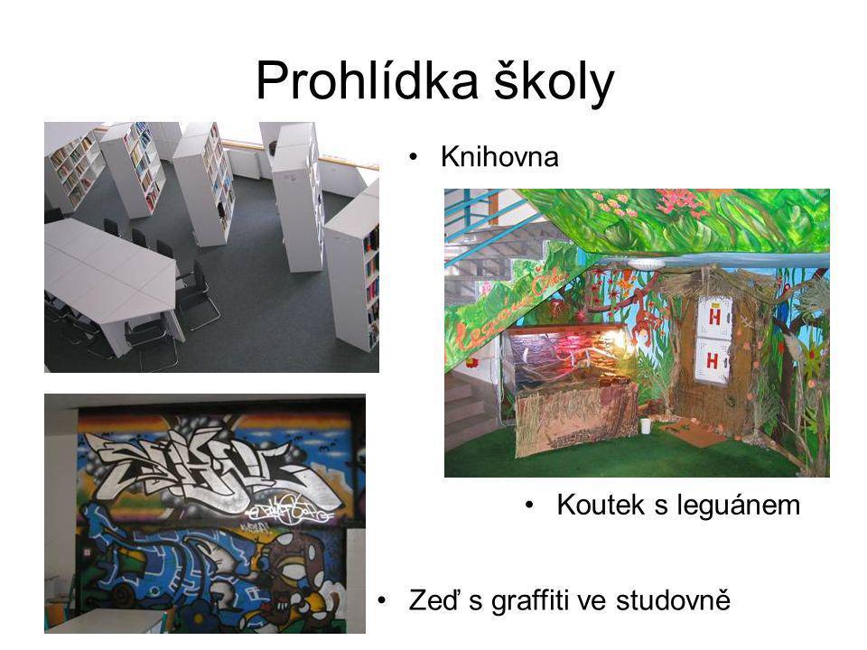 Prohlídka školy Knihovna Koutek s leguánem Zeď s graffiti ve studovně
